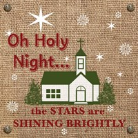 Christmas on Burlap - Oh Holy Night Fine Art Print