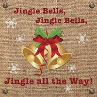 Christmas on Burlap - Jingle Bells Fine Art Print