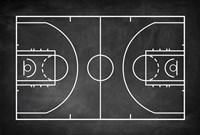 Basketball Court Chalkboard Background Fine Art Print