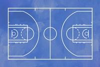 Basketball Court Blue Paint Background Fine Art Print