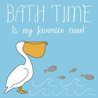 Bath Time Pelican Pete Fine Art Print