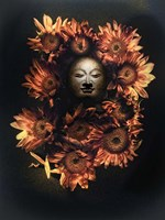 Budda Head In A Bed Of Daisies Fine Art Print