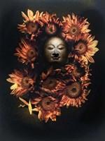 Budda Head In A Bed Of Daisies Fine Art Print