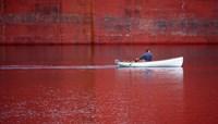 White Boat On Red River Fine Art Print