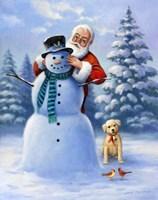 Santa & Snowman Fine Art Print
