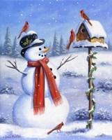 Snowman & Cardinals Fine Art Print
