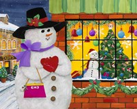 Snow Woman Window Shops Fine Art Print
