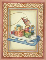 Elf on A Sled Fine Art Print
