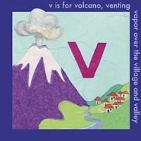 V is For Volcano Framed Print