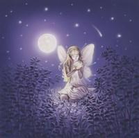 Girl With Night Flower Fine Art Print