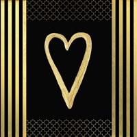 Black & Gold - Feathered Fashion Heart Fine Art Print