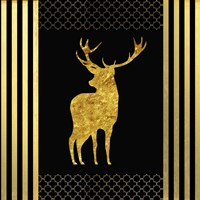 Black & Gold - Feathered Fashion Stag Fine Art Print