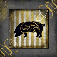 Gold Welcome To Our Bistro Pig Fine Art Print