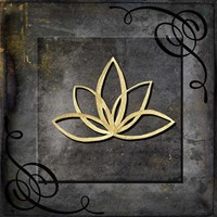 Grunge Gold Crown Lotus Fine Art Print