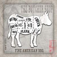 American Butcher Shop Cow Fine Art Print