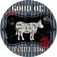 Good Ol' Family BBQ Round Cow Fine Art Print