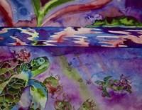 Sea Turtles In Northern Lights Fine Art Print