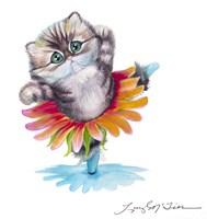 Kitten Ballerina Daisy Flower Dance Persian Cat Fine Art Print