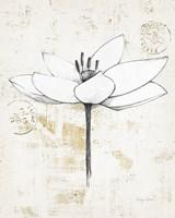 Pencil Floral I Gold Fine Art Print