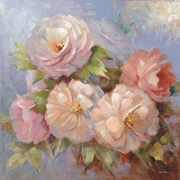 Roses on Blue III Crop Fine Art Print