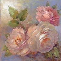 Roses on Blue II Crop Fine Art Print