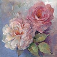 Roses on Blue I Crop Fine Art Print