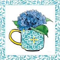 Floral Teacup III Vine Border Framed Print