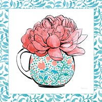 Floral Teacup I Vine Border Framed Print