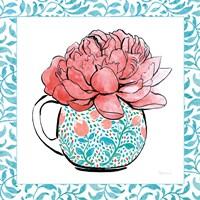Floral Teacup I Vine Border Framed Print