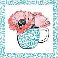 Floral Teacup II Vine Border Framed Print