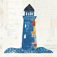 Nautical Collage II on Newsprint Fine Art Print