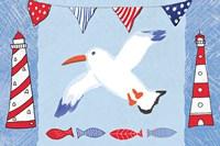Coastal Bird III Blue Fine Art Print