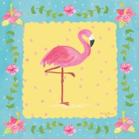 Flamingo Dance I Sq Border Fine Art Print