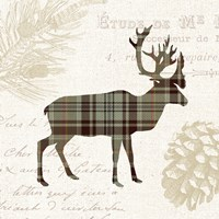Plaid Lodge I Tan Fine Art Print