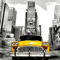 Vintage Taxi in Times Square, NYC (detail) Framed Print