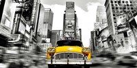 Vintage Taxi in Times Square, NYC Fine Art Print