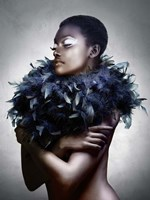 Woman with Feathered Scarf Fine Art Print