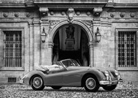 Luxury Car in front of Classic Palace (BW) Fine Art Print