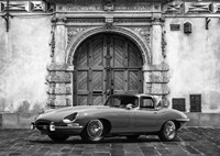 Roadster in front of Classic Palace (BW) Fine Art Print