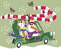 Snowman Roadtrip Fine Art Print