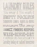 Laundry Rules on Whiate Fine Art Print