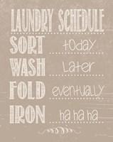 Laundry Schedule - Beige Fine Art Print