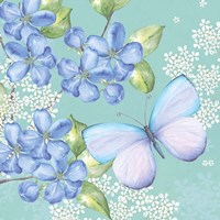 Blue Floral Butterfly Fine Art Print
