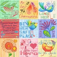 Lil Birds 9 Patch Fine Art Print