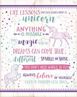 Life Lessons Unicorn Framed Print