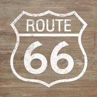 Route 66 White on Wood Fine Art Print