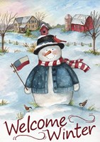 Snowman Farm Scene Welcome Winter Fine Art Print