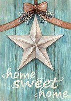White Barn Star with Bow Home White Fine Art Print