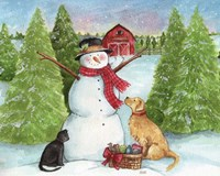 Snowman Dog And Cat Farm Horizontal Fine Art Print