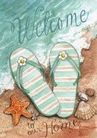 Flip Flops On The Beach Welcome Fine Art Print